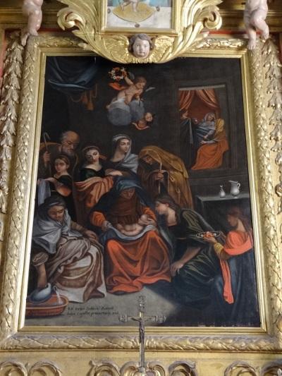 Tableau la nativité de la vierge après restauration